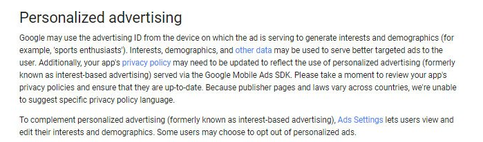 Google Behavioral Policies Personalized Advertising Intro