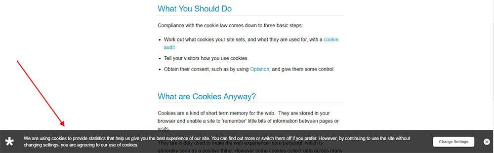 Example of Optanon's website Cookie Notice Pop-up