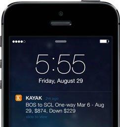 iOS Mobile Push Notification from Kayak