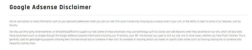 SmokeShopOfficial's Google AdSense Disclaimer