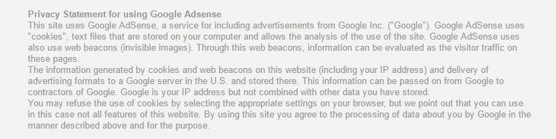 Volz Servos Privacy Statement for Using Google AdSense
