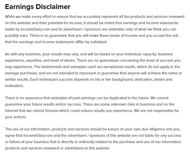 earnings disclaimer template when and how to write an earnings disclaimer termsfeed