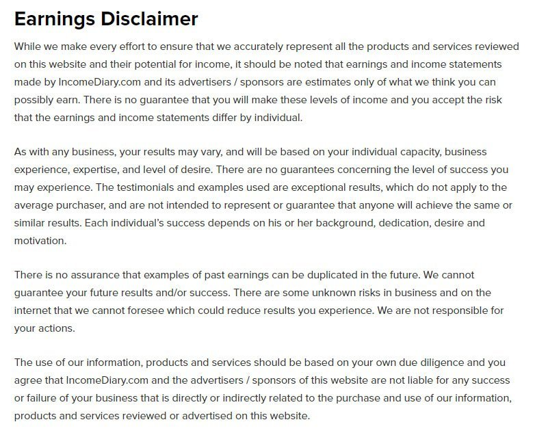 earnings disclaimer template - when and how to write an earnings disclaimer termsfeed