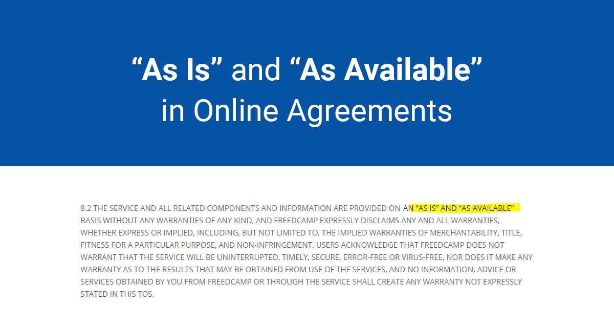 """As Is"" and ""As Available"" in Online Agreements"