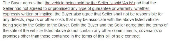 As Is Clause in an Automobile Purchase Contract