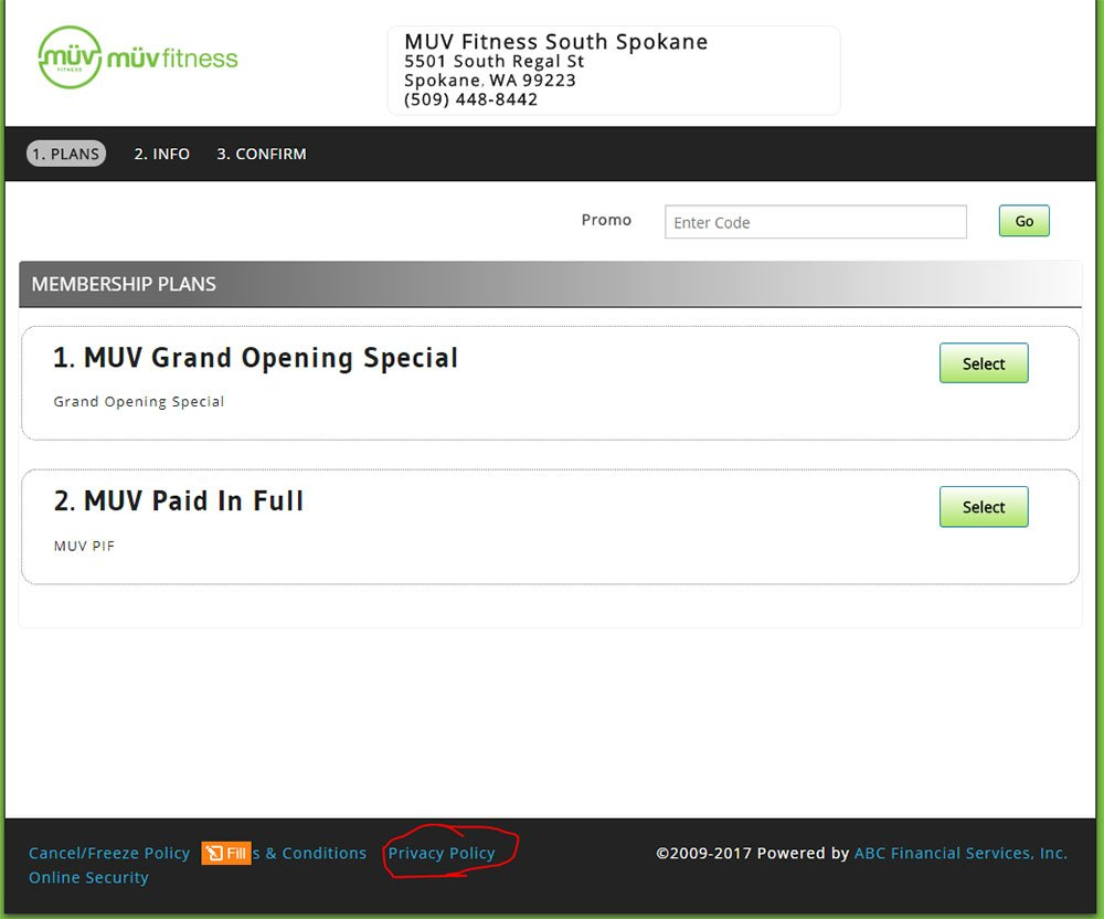 Muv Fitness Privacy Policy link in website footer