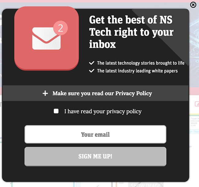 Tech New Statesman: Notification about Privacy Policy before users can submit email address