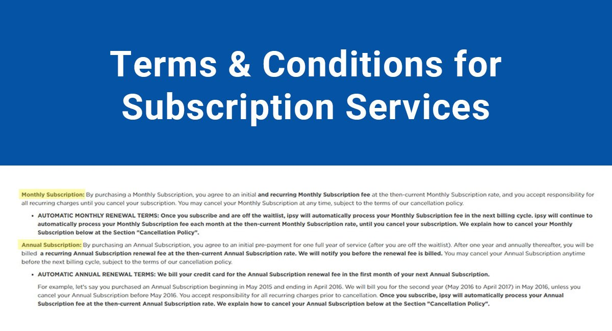 Image for: Terms & Conditions for Subscription Services