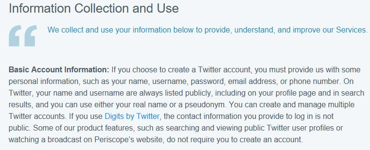 Twitter Privacy Policy Information Collection and Use section uses bold and colored font for contrast