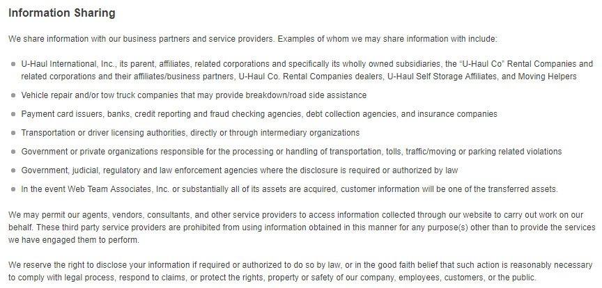 Uhaul's Privacy Policy Information Sharing Clause