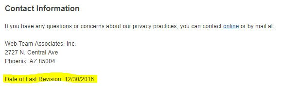 Uhaul's Date of Last Revision of Privacy Policy