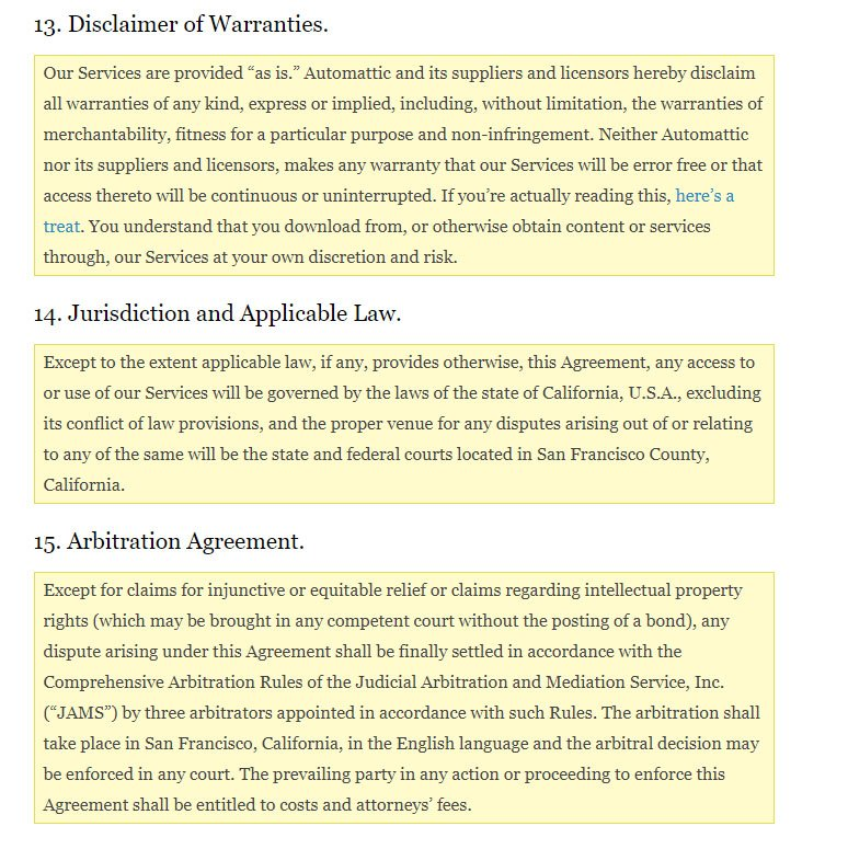 Wordpress Terms and Conditions uses headings and section titles for emphasis