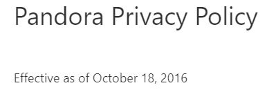 Pandora: Privacy Policy effective date