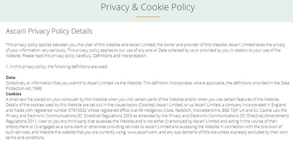 Ascarii combines a Privacy and Cookie Policy