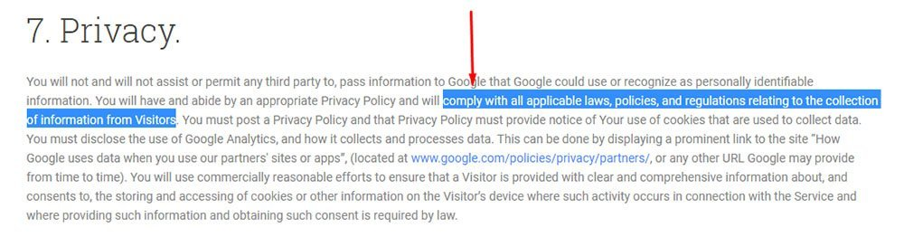 Google Analytics Terms of Service requires compliance with applicable laws