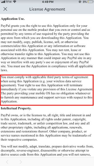 PayPal app EULA: Comply with third party terms clause