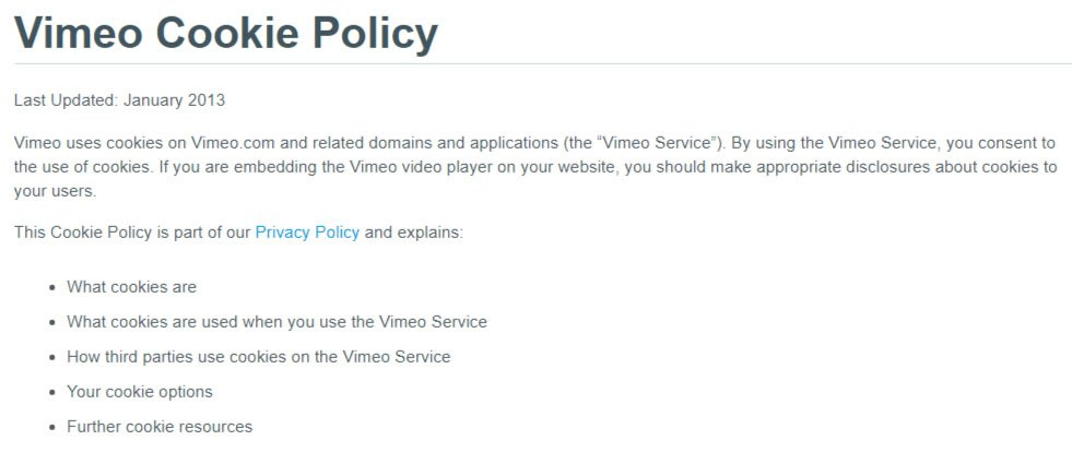 Introduction clause of Vimeo