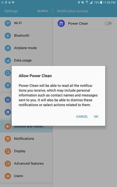 Power Clean Android app requesting to read notifications