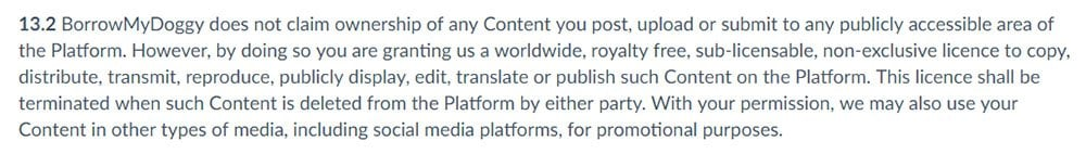 Borrow My Doggy Terms and Conditions: User Generated Content clause