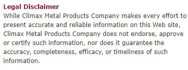 Legal Disclaimer for Climax Metal Products