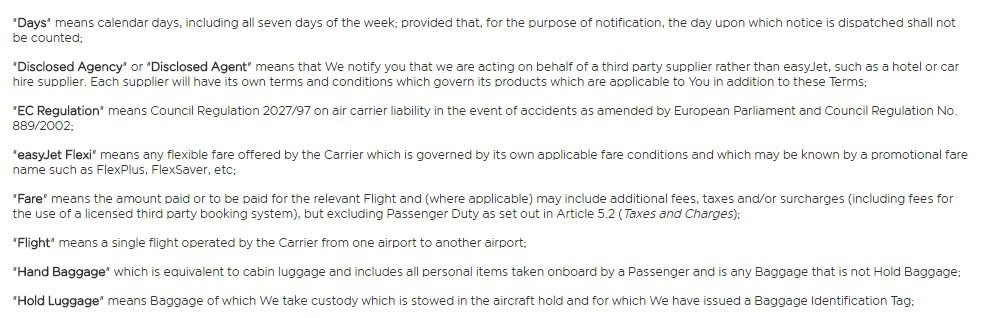 easyJet's Terms and Conditions: Definitions clause