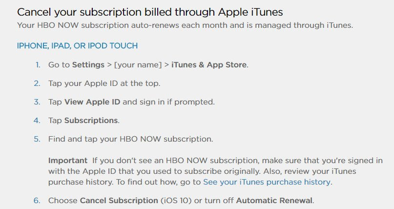 HBO Now mobile app FAQ: Cancel subscription through Apple iTunes instructions