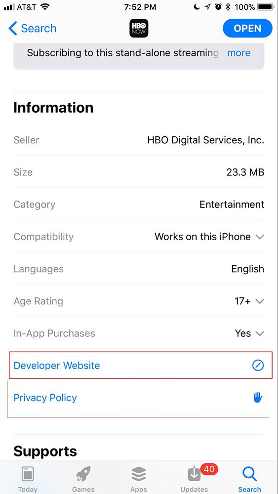 HBO Now iOS app store listing with developer website highlighted