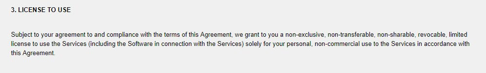 IGG's Terms of Service: License to Use clause