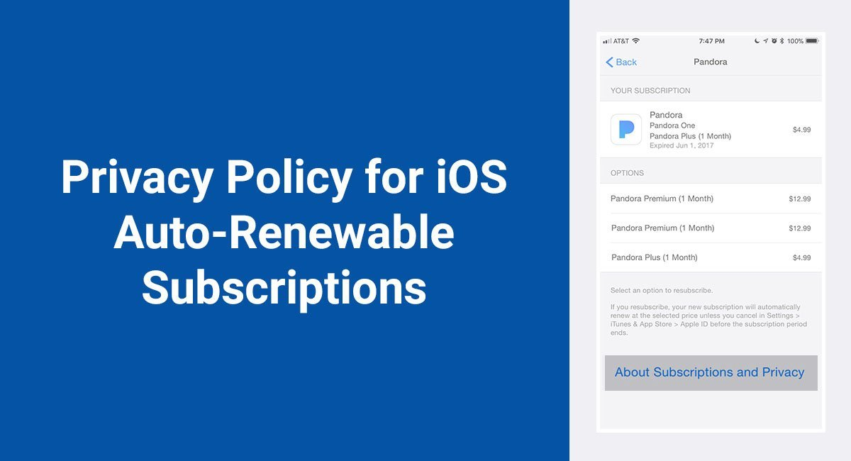 Image for: Privacy Policy for iOS Auto-Renewable Subscriptions