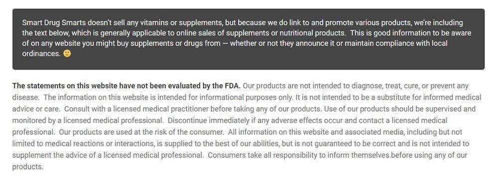 Disclaimer from Smart Drug Smarts