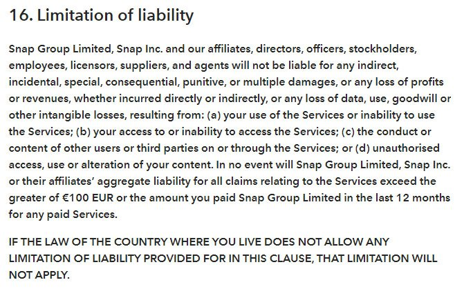 Snap's Terms of Service: Limitation of Liability clause