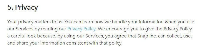 Snap's Terms of Service: Privacy clause