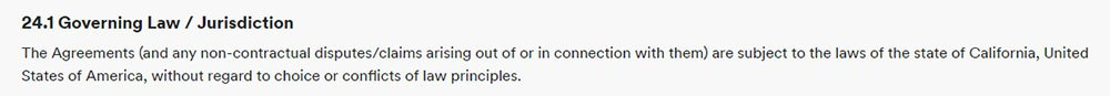 Spotify's Terms and Conditions: Governing Law clause