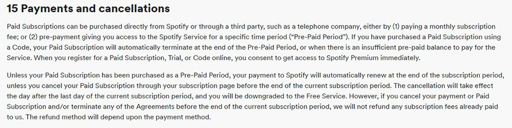 Spotify's Terms and Conditions: Payments and Cancellations clause