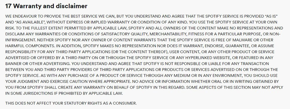 Spotify's Terms and Conditions: Warranty and DIsclaimer clause