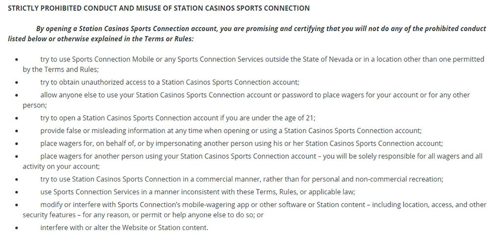 STN Sports Terms and Conditions: Prohibited Conduct clause