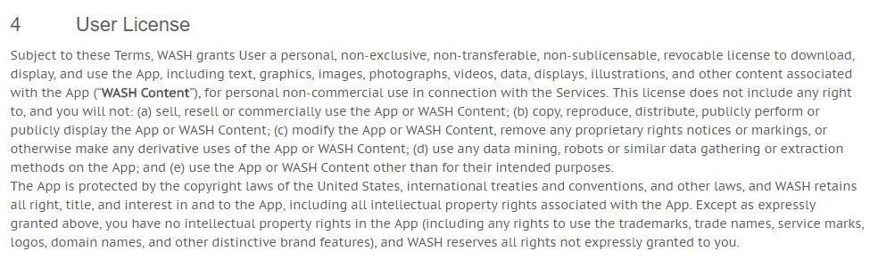 WASH Terms of Use: User License clause