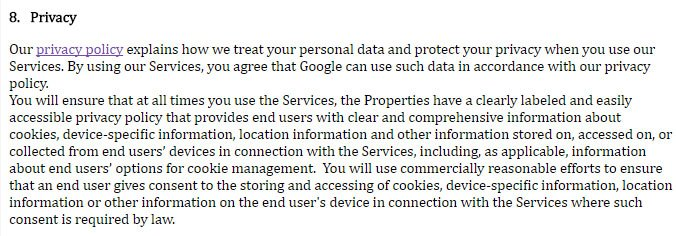 AdSense Terms of Service: Privacy clause
