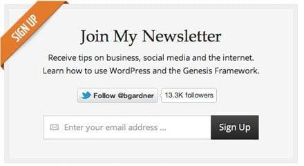 BGardner email newsletter sign-up screen