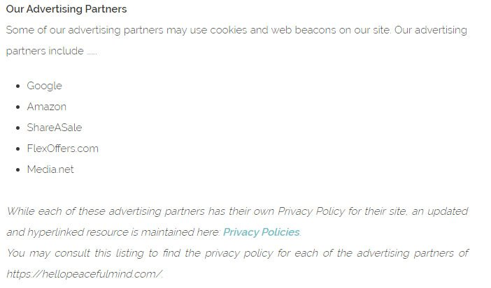 Hello Peaceful Mind Privacy Policy: Our Advertising Partners clause