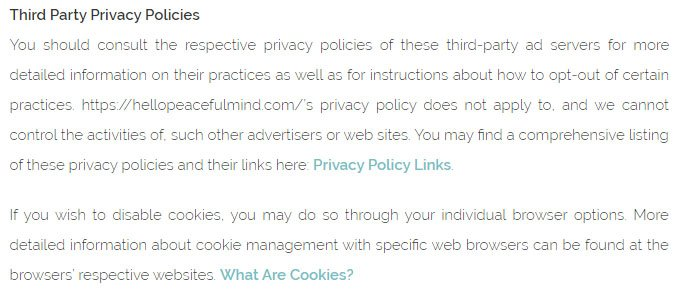Hello Peaceful Mind Privacy Policy: Third Party Privacy Policies clause