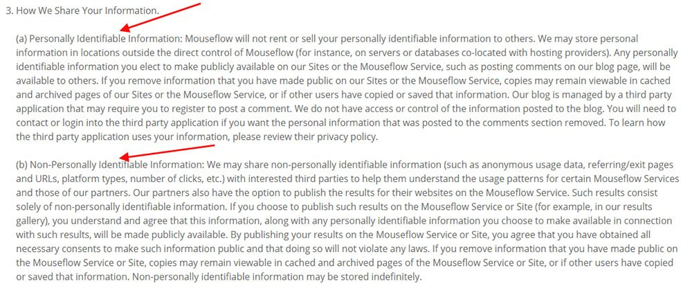 Mouseflow GDPR Privacy Policy How We Share Your Information Clause