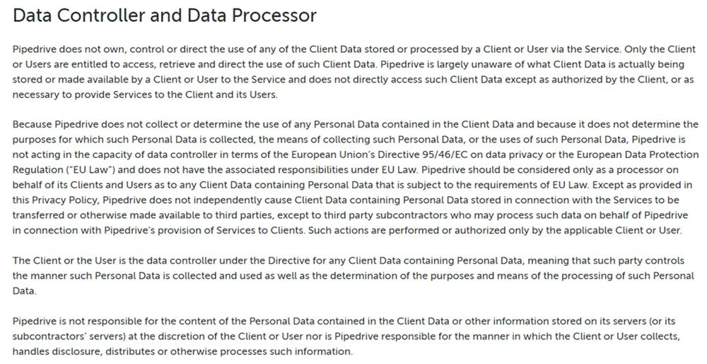 pipedrive gdpr privacy policy data controller and data processor clause