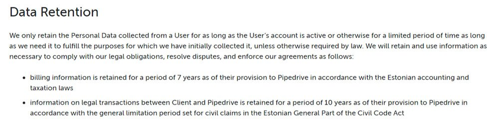 pipedrive gdpr privacy policy data retention clause