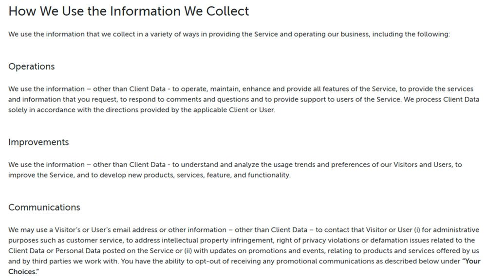 pipedrive gdpr privacy policy how we use information we collect clause