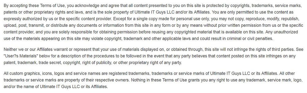 Ultimate IT Guys Terms and Conditions: Copyright clause mentioning Amazon Affiliates