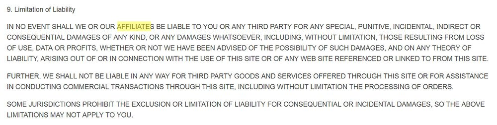 Ultimate IT Guys Terms and Conditions: Limitation of Liability clause extending to affiliates