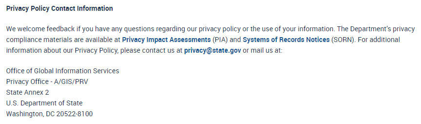 us department of state privacy policy contact information clause