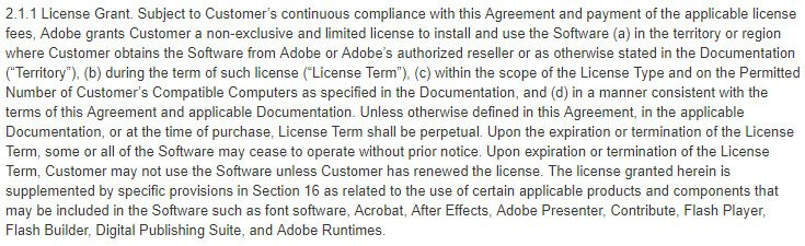 Adobe EULA: License Grant clause