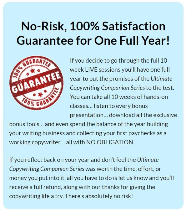 AWAI Satisfaction Guarantee notice